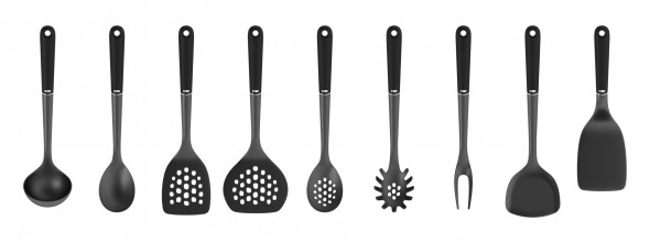 """Utensiltarian --  The iconic OXO utensil line is getting a design overall after more than ten years.  """"Essentially this new redesign is more minimal and pure in form relative to the original set which was more generous in both form and material,"""" says John Jacobsen. The redesign takes in account changing consumer sensibilities which favor more efficient, lighter-weight forms.  (rendering in KeyShot, image: Smart Design)"""